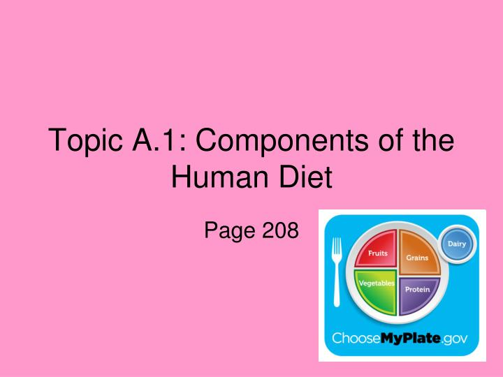 Topic a 1 components of the human diet