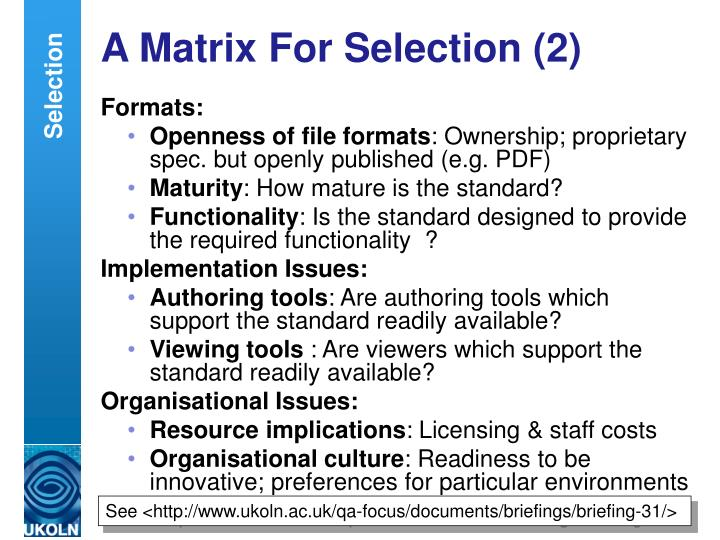 A Matrix For Selection (2)