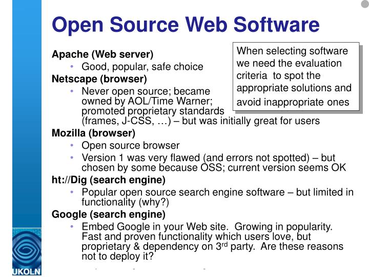 Open Source Web Software