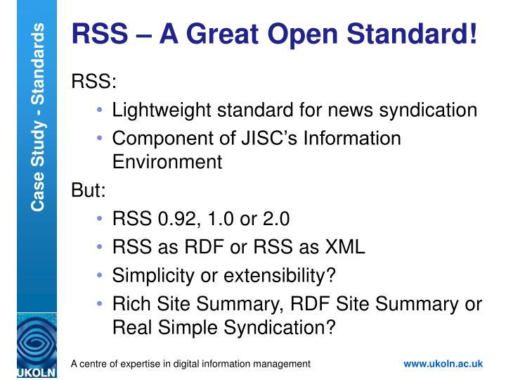 RSS – A Great Open Standard!