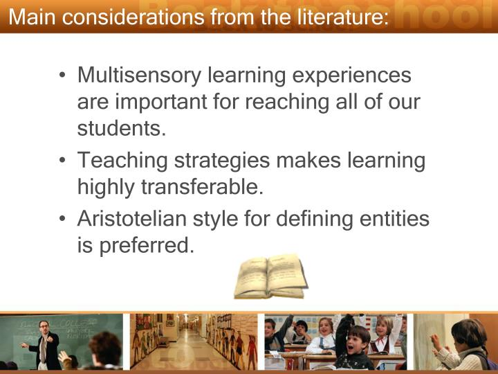 Main considerations from the literature:
