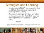 strategies and learning