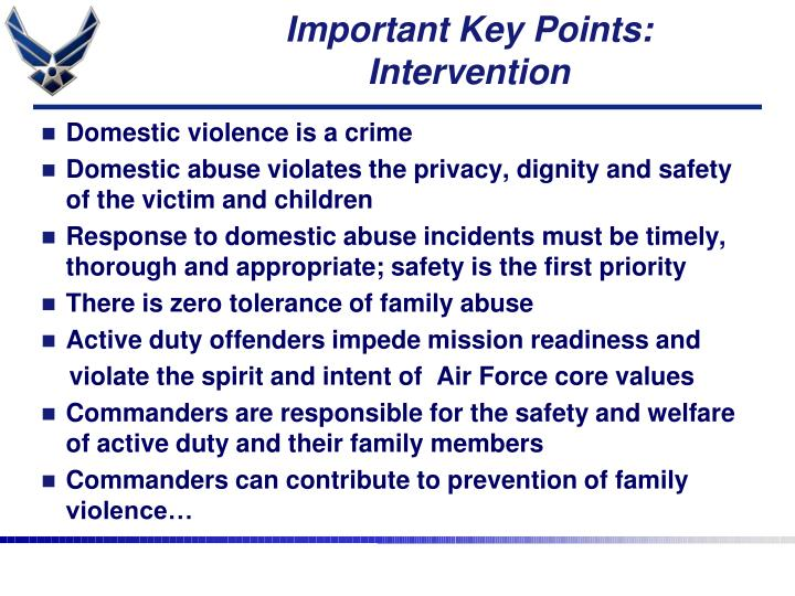 Important Key Points: Intervention