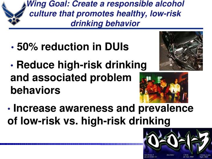 Wing Goal: Create a responsible alcohol culture that promotes healthy, low-risk drinking behavior
