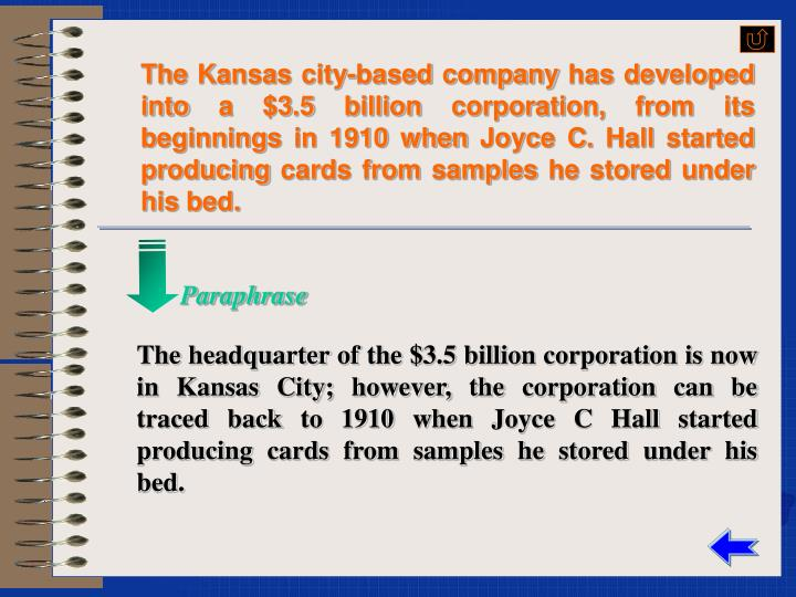 The Kansas city-based company has developed into a $3.5 billion corporation, from its beginnings in 1910 when Joyce C. Hall started producing cards from samples he stored under his bed.