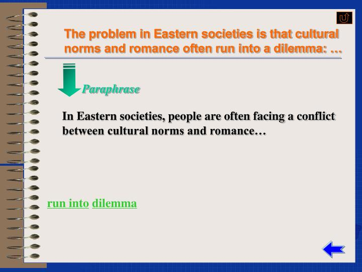 The problem in Eastern societies is that cultural norms and romance often run into a dilemma: …