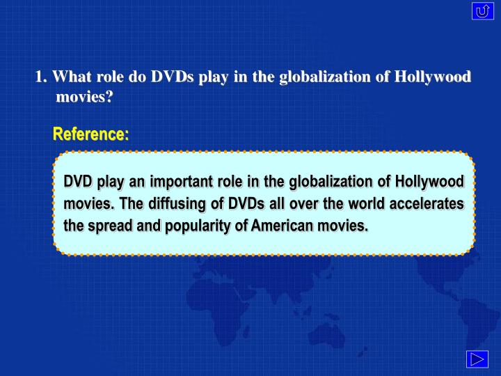 1. What role do DVDs play in the globalization of Hollywood movies?