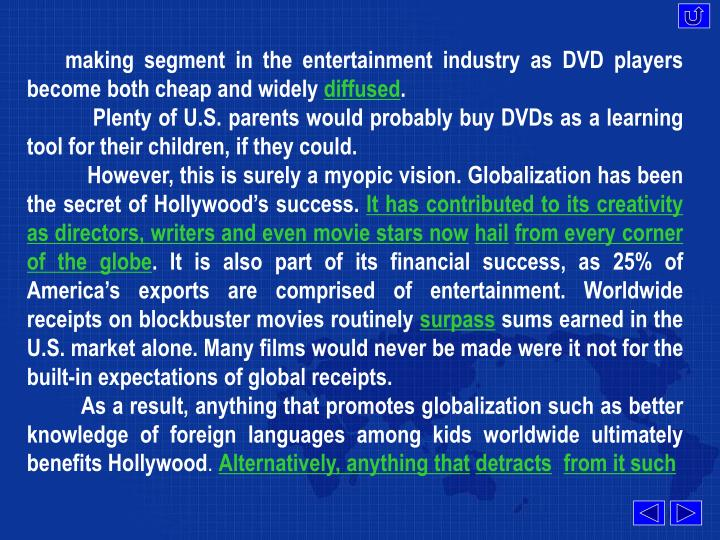 making segment in the entertainment industry as DVD players become both cheap and widely