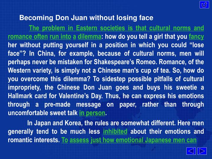 Becoming Don Juan without losing face