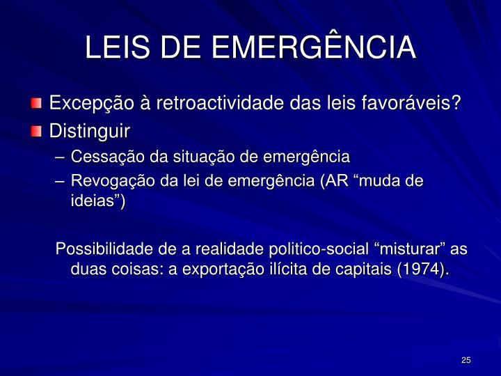 LEIS DE EMERGÊNCIA