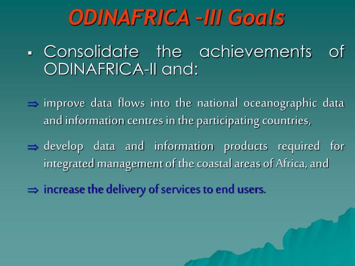 ODINAFRICA –III Goals