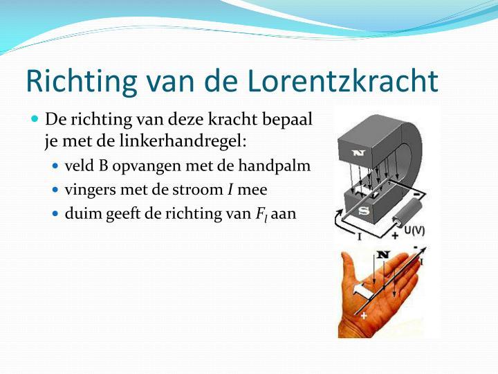Richting van de Lorentzkracht
