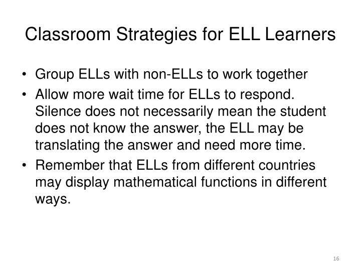 Classroom Strategies for ELL Learners
