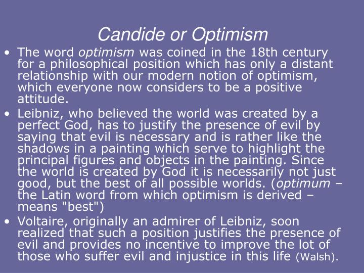 How is Candide a satire of the philosophy of optimism?