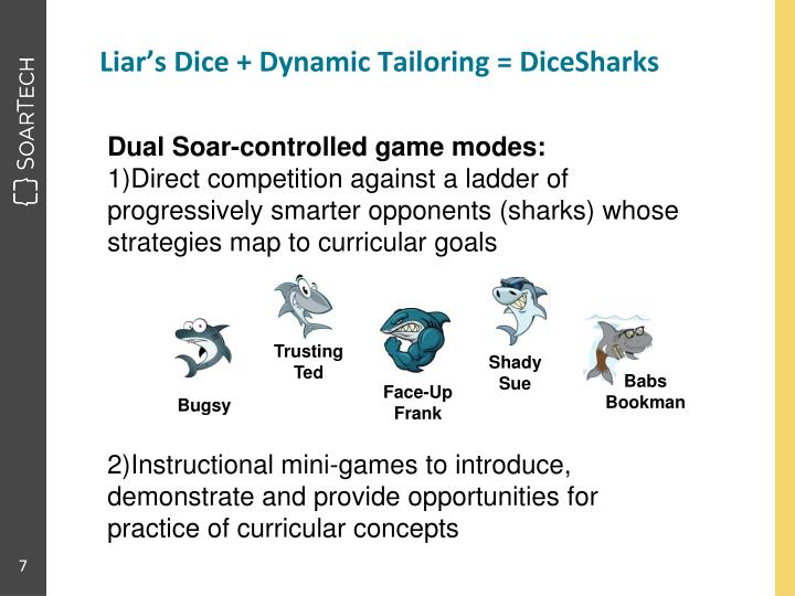 Liar's Dice + Dynamic Tailoring = DiceSharks