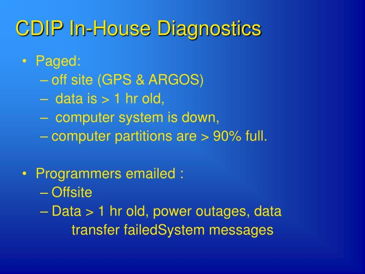 CDIP In-House Diagnostics