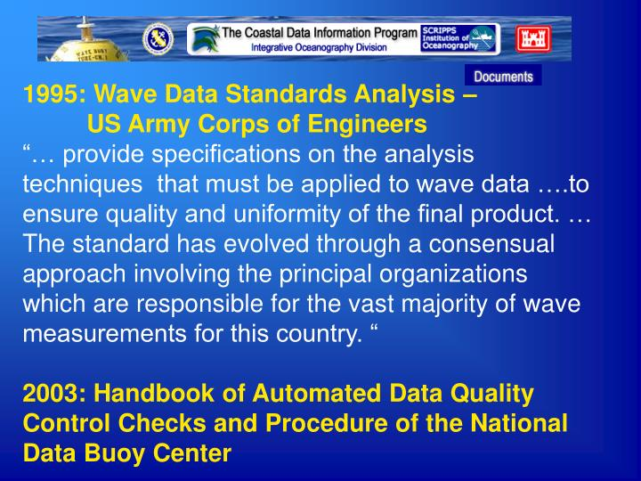 1995: Wave Data Standards Analysis –