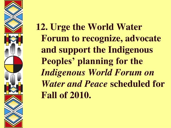 12. Urge the World Water Forum to recognize, advocate and support the Indigenous Peoples' planning for the