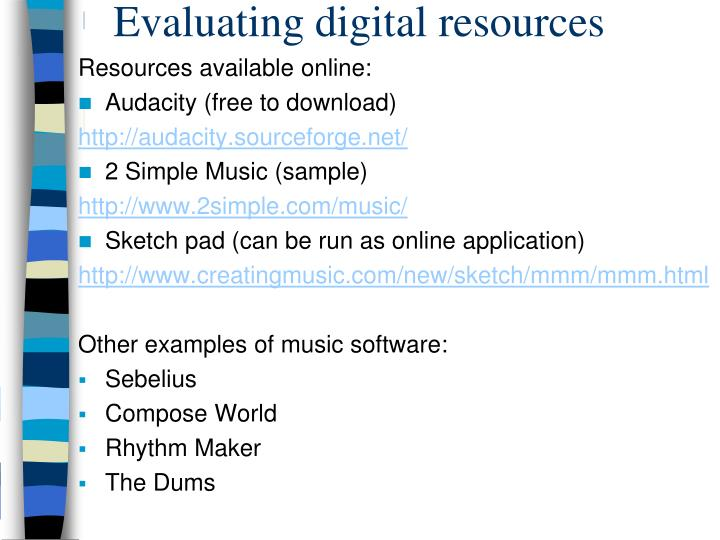 Evaluating digital resources