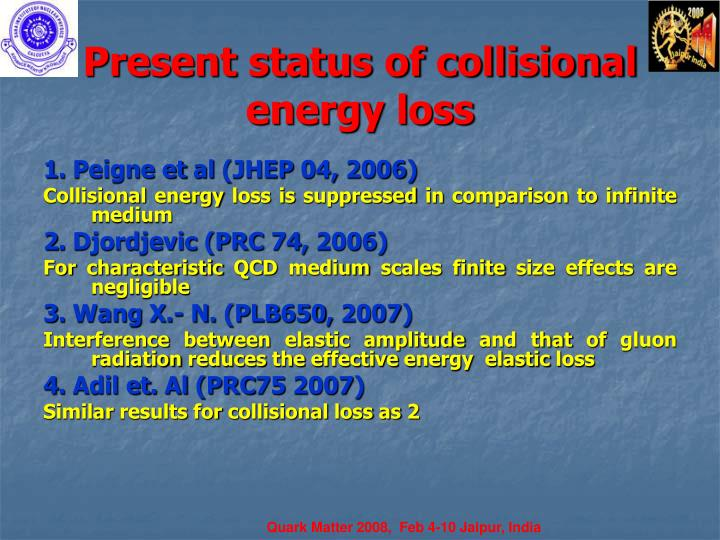 Present status of collisional energy loss
