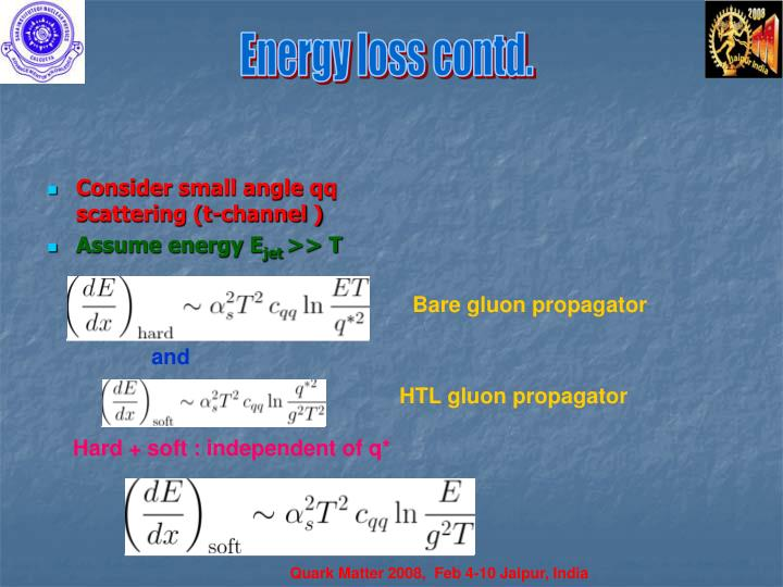 Energy loss contd.