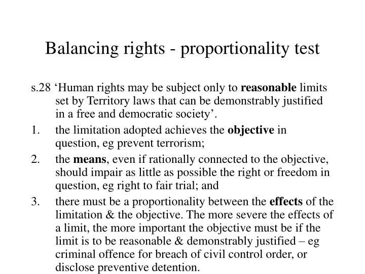 Balancing rights - proportionality test