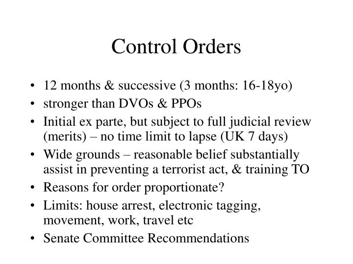 Control Orders