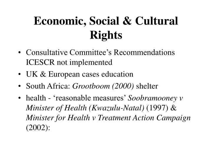 Economic, Social & Cultural Rights