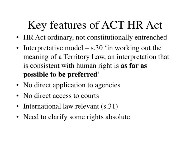 Key features of act hr act