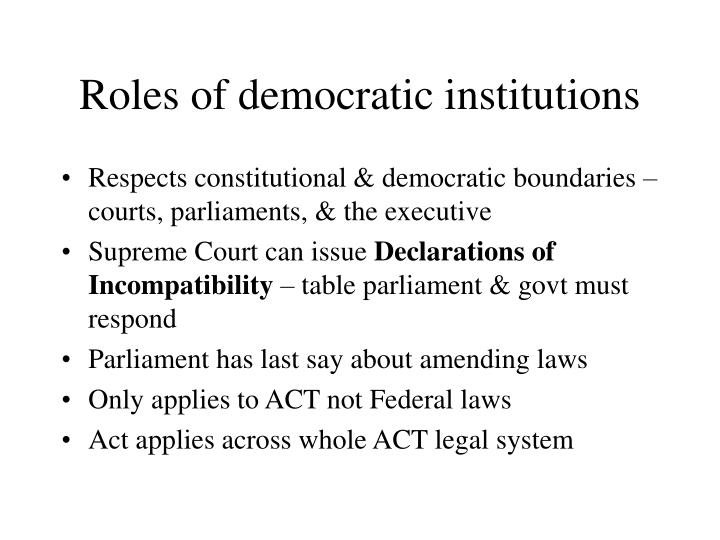 Roles of democratic institutions