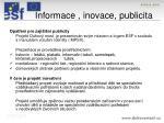 informace inovace publicita