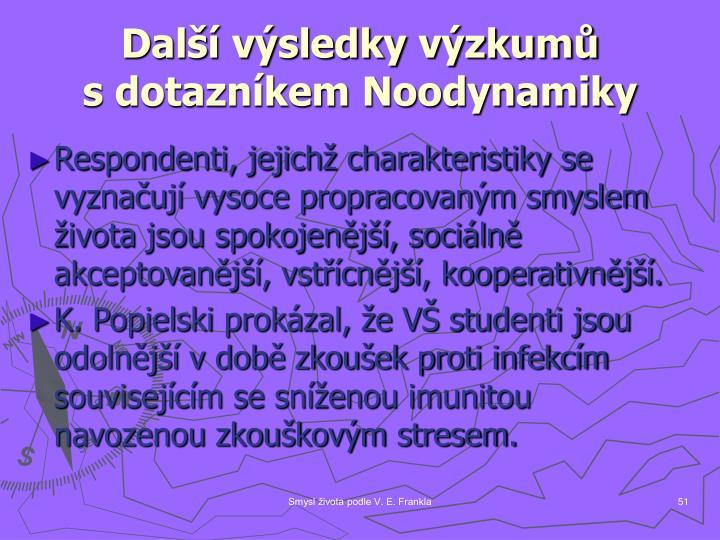 Další výsledky výzkumů                s dotazníkem Noodynamiky