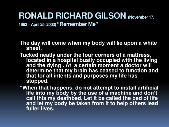 RONALD RICHARD GILSON