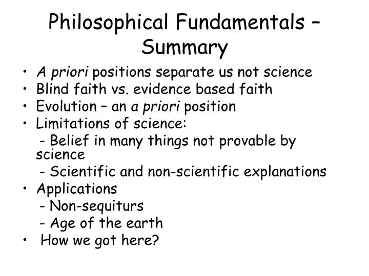 Philosophical Fundamentals – Summary
