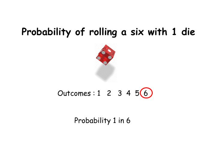 Probability of rolling a six with 1 die