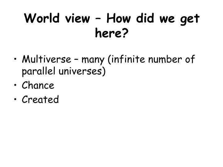 World view – How did we get here?