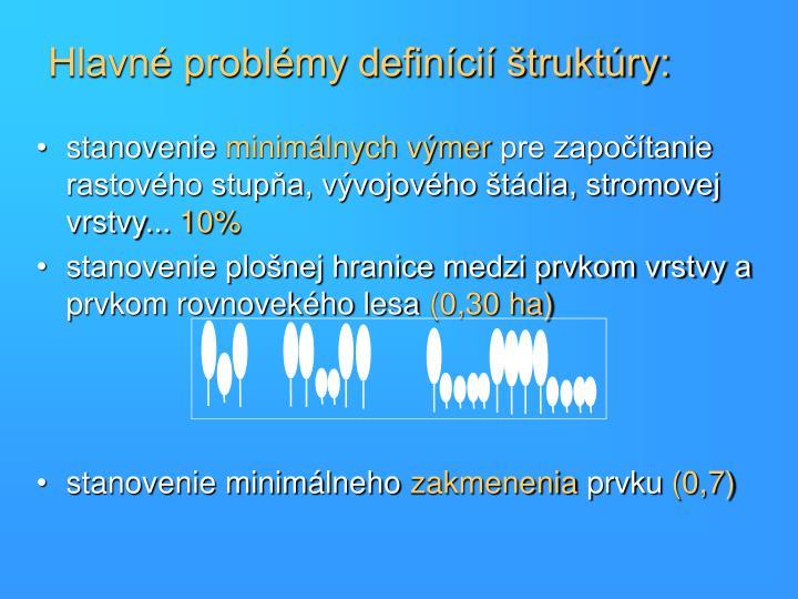 Hlavné problémy definícií štruktúry:
