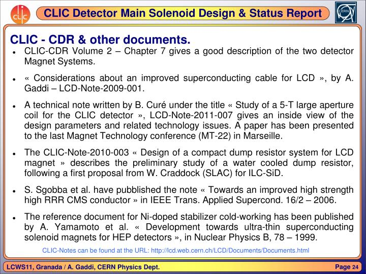 CLIC - CDR & other documents.