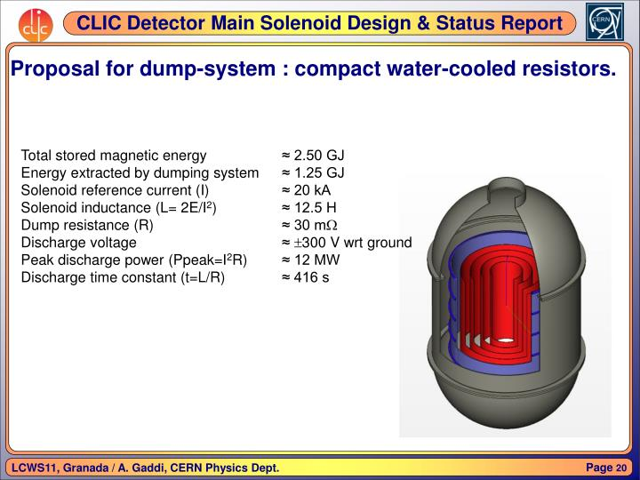 Proposal for dump-system : compact water-cooled resistors.