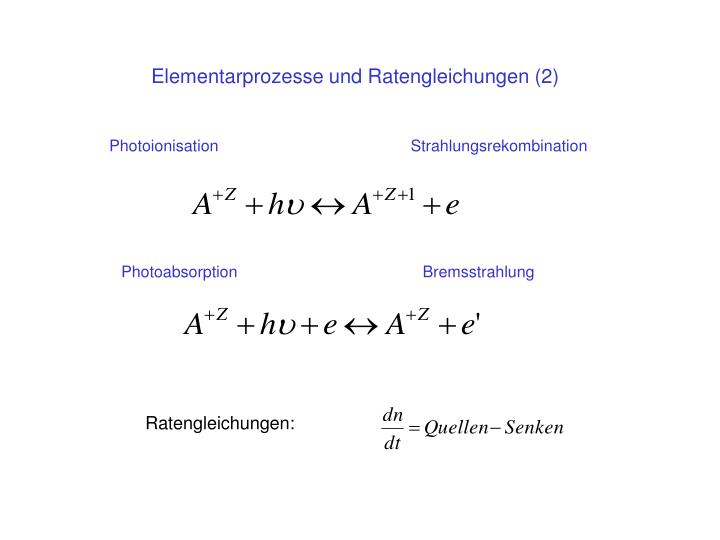 Elementarprozesse und Ratengleichungen (2)