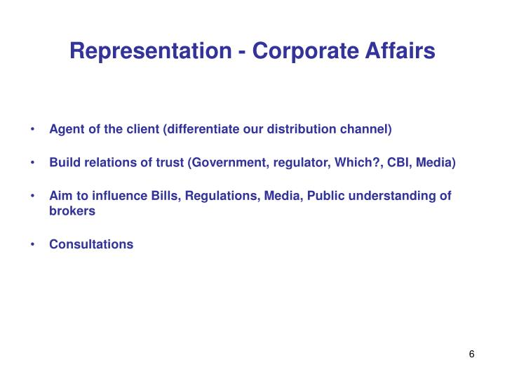 Representation - Corporate Affairs
