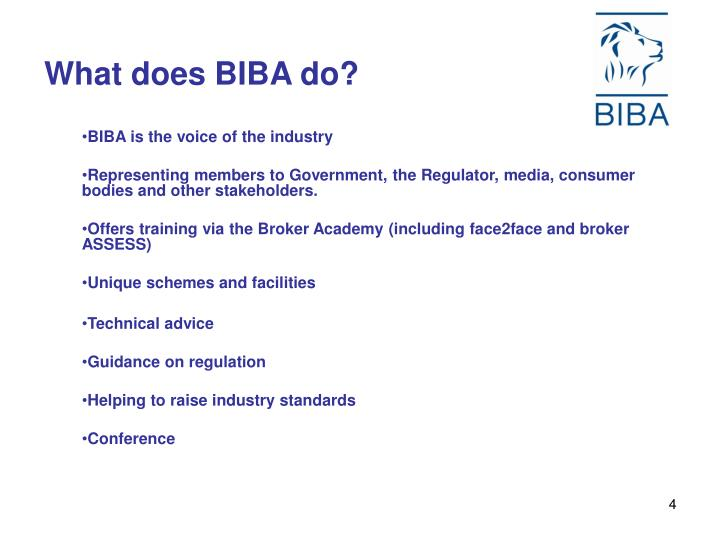 What does BIBA do?