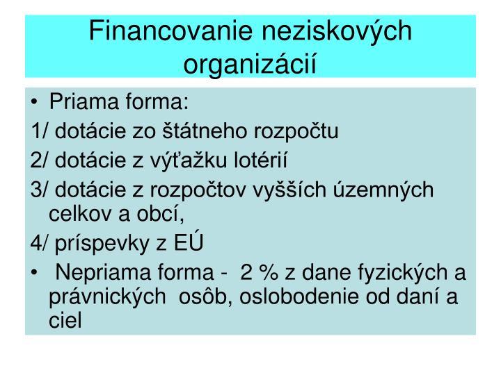 Financovanie neziskových organizácií