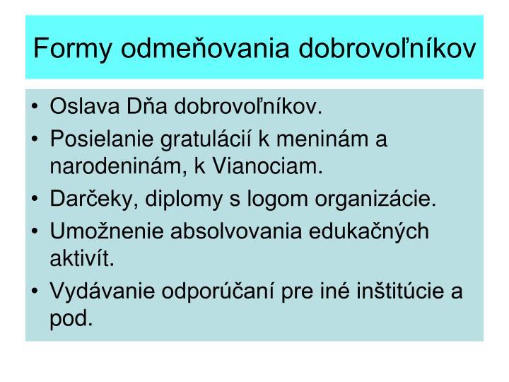 Formy odmeňovania dobrovoľníkov