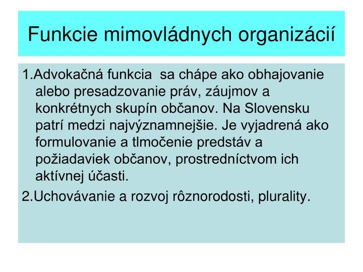 Funkcie mimovládnych organizácií