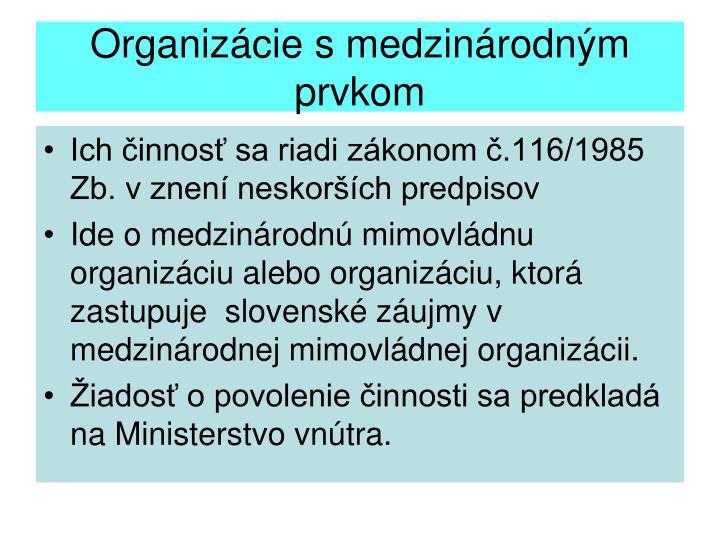 Organizácie s medzinárodným prvkom