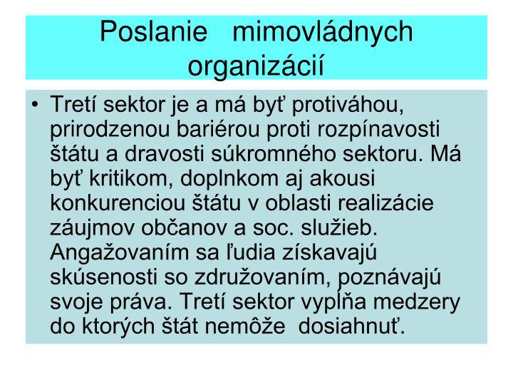 Poslanie   mimovládnych organizácií