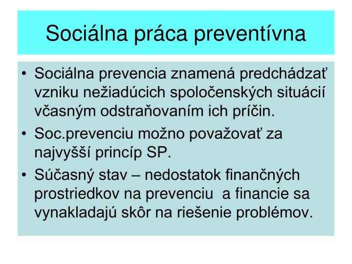 Sociálna práca preventívna
