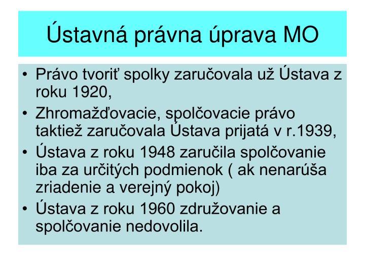 Ústavná právna úprava MO
