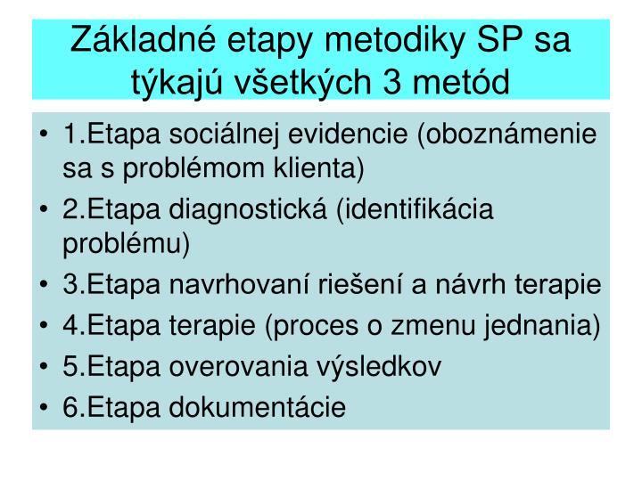 Základné etapy metodiky SP sa týkajú všetkých 3 metód